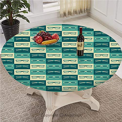 Fashionable Table Cloth Round 43 To 78 Inch Elastic Edge Fitted Polyester Table Cover Pattern,Washable,Indie,Pattern with Eyeglasses in Vintage Style Hipster Cool Collection Decorative,Petrol Blue