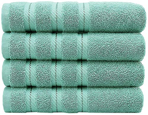 AmericanSoftLinen Luxury Hotel & Spa Quality, Cotton, 16x28 Inches 4-Piece Turkish Hand Towel Set for Maximum Softness & Absorbency, Dry Quickly, Turquoise Blue