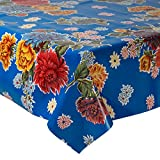 Mexican Floral Oilcloth Table Cover (120 cm Width - Long by half Meters) Model Chrysanthemum Dark Blue