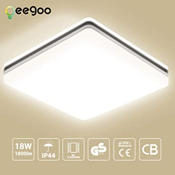 LED Deckenleuchte Bad, Oeegoo 18W 1550LM LED Flimmerfreie Deckenlampe  28x28cm, IP44 Wasserfest Badleuchte für Badezimmer Flur Wohnzimmer  Schlafzimmer ...