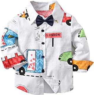 JJYH White Boys Gentleman Bowtie Button Down Shirts Kids Long Sleeve Cartoon Tops
