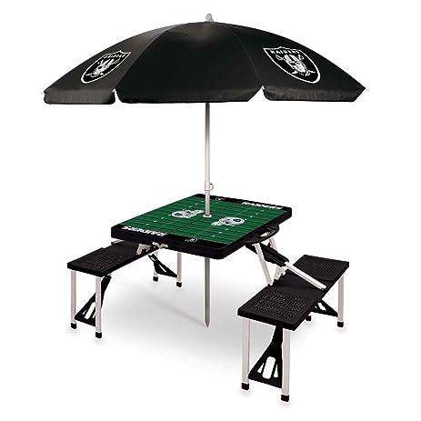 NFL Oakland Raiders Picnic Table Sport With Umbrella Digital Print, One  Size, Black