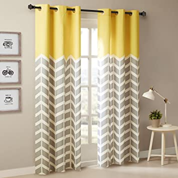 Intelligent Design Yellow in Grey Chevron Printed Curtains for Living Room  or Bedroom, Modern Contemporary Grommet Room Darkening Curtains, 42x84, ...