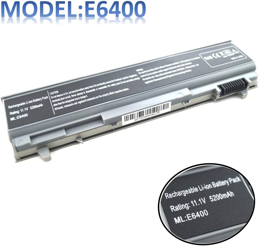 11.1V 5200MAH E6400 Laptop Battery Compatible with Dell Latitude E6410 E6500 E6510 Precision M2400 M4400 M4500 M6500 4M529 KY265 PT434 312-0749 0RG049 KY265 W1193