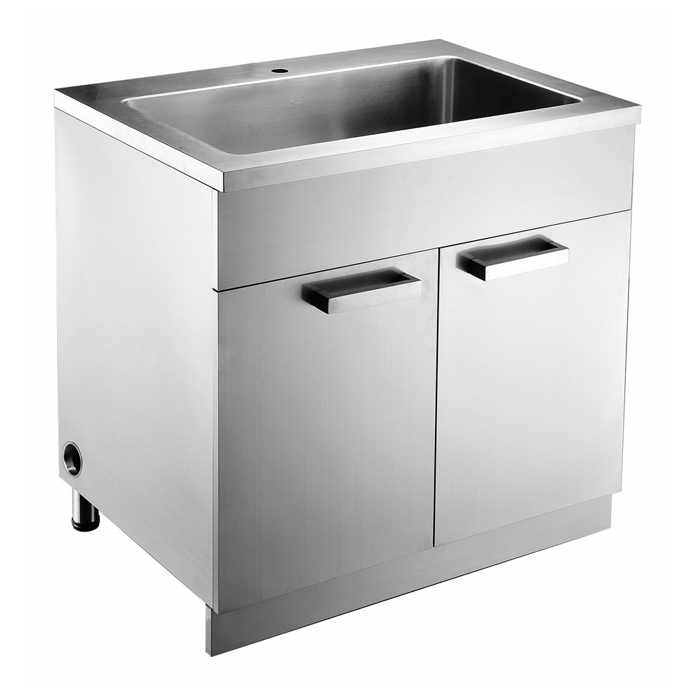 Dawn SSC3636 Stainless Steel Sink Base Cabinet with Built In Garbage Can and Cutting Board with Rack