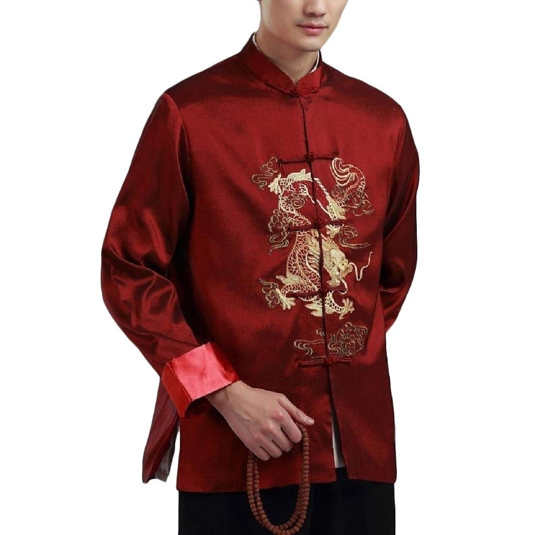 Comaba Men Outwear Tops Dragon Embroidery Buckle Chaquetas ...