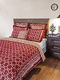 Ruby Kilim ~ Rustic Designer Red Black Cotton Queen Duvet Cover 90x90