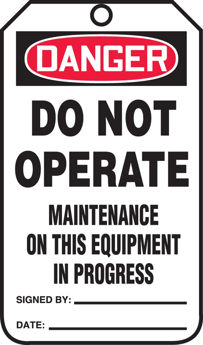 Accuform MDT179CTM PF-Cardstock SAFETY Tag, Legend 'DANGER Do Not Operate Maintenance on This', 5.75' Length x 3.25' Width x 0.010' Thickness, Red/Black on White (Pack of 5) Legend DANGER Do Not Operate Maintenance on This