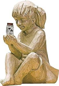 Garden Sculptures & Statues Outdoor Garden Statues Solar Lighted Firefly Jar Garden Children Boy Girl Statue Utdoor Sculpture Decor (Girl)