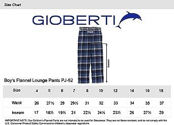 Aqua//Navy Size 16 Gioberti Big Boys Yarn Dye Brushed Flannel Lounge /& Pajama Pants with Elastic Waist