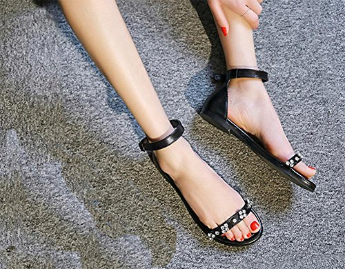 Wort Schnalle flache Schuhe wilde Prinzessin Sommer Sandalen und Pantoffeln Studentinnen black