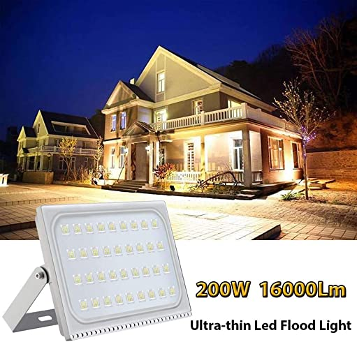 WZTO 200W Outdoor LED Flood Light,6000-6500K Cold White IP65 Waterproof,16000lm Outdoor Landscape Flood Light for Garden Yard, Playground,Warehouse, Billboard, Commercial