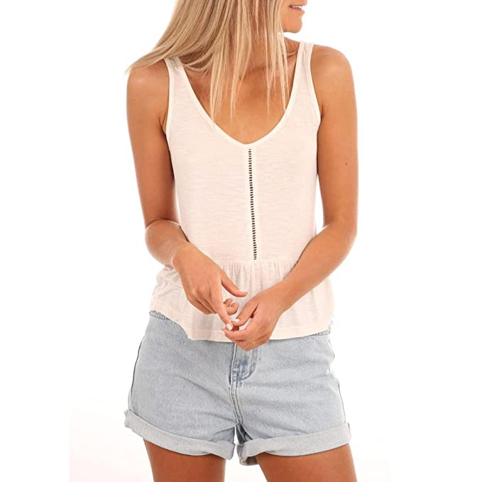 cb22e83993497b Tank Tops Women, Womens Summer Casual Sleeveless Vest Tops V-Neck Fashion  Camisole Tops T-Shirt Hollow Out Crop Tops Blouse Shirt (S, Sexy White): ...