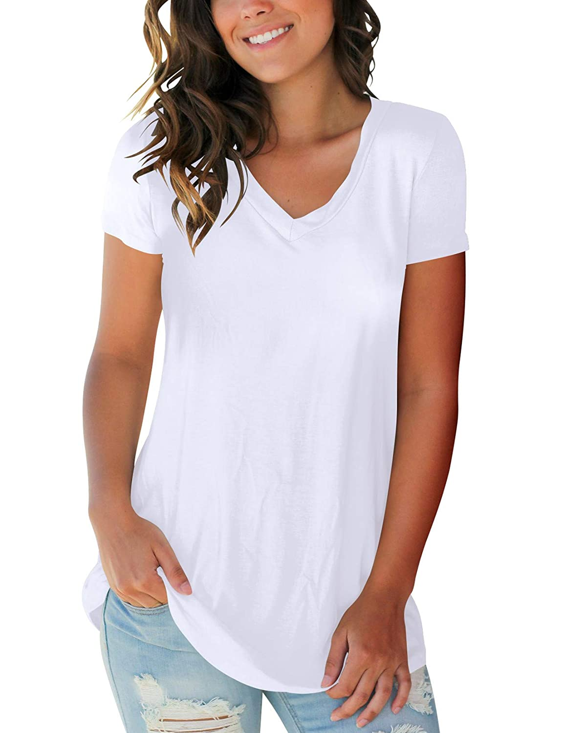 e47dd9346 Women's Tops Short Sleeve V Neck T Shirts Summer Basic Tees with Pocket at  Amazon Women's Clothing store: