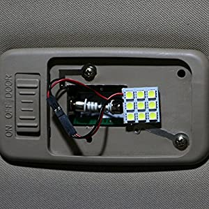 Everbrightt 6-Pack Cool White 5050 9SMD Led Panel Dome Light Auto Car Reading Interior Lamp DC 12V With T10 / BA9S / Festoon Adapters