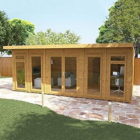 Cabaña Nova para jardín, de madera, con aislamiento, de 6 m x 4 m, para oficina en casa: Amazon.es: Jardín