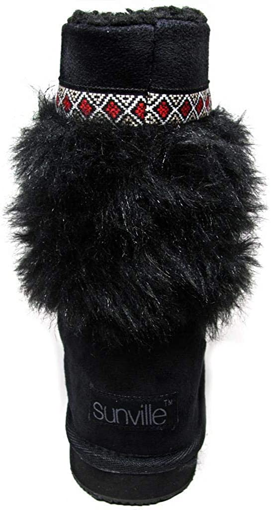 Sunville Black Fur Microsuede Sherpa Lined Mid Calf Boots