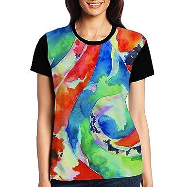 00a43f3e88e1c Watercolor Koi Fish Women s Printing Raglan Long Sleeve Tops ...
