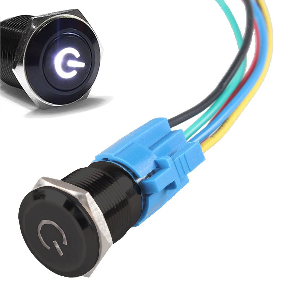 ESUPPORT 16mm 12V 3A Car Blue LED Light Power Metal Push Button Toggle Switch Socket Plug Latching Black Shell
