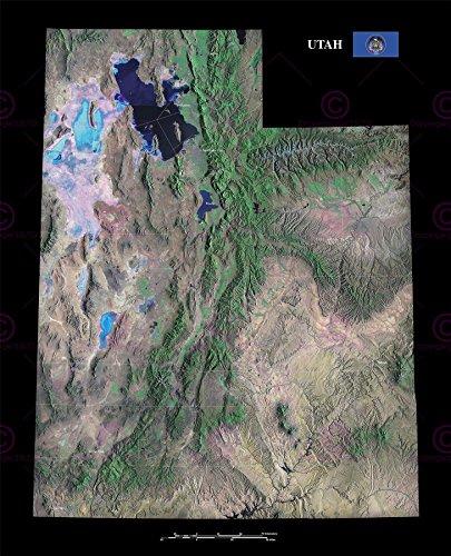 (Doppelganger33 Ltd Map County Satellite USA State Flag Utah Old Large Replica Canvas Art Print)