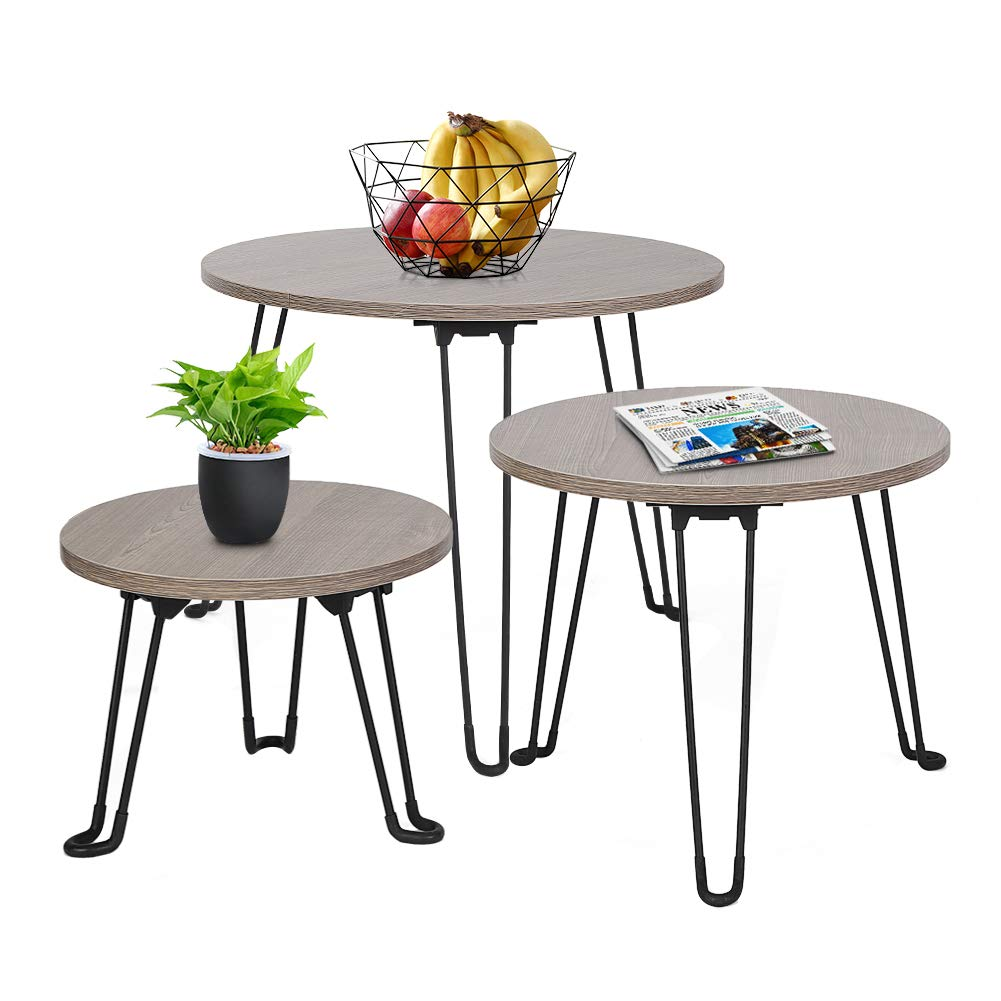 Cocoarm Foldable Nesting Coffee Tables Modern, 3 Sets Round End Table Wood Nightstand for Living Room Balcony Home and Office Stackable Design for Small Space by Cocoarm