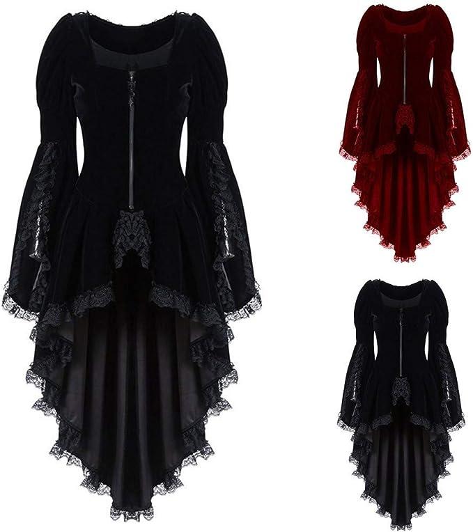 LRWEY Women Dress Ladies Medieval Vintage Style Solid Oversize Hooded Dress Gothic Lace-Up Asymmetric Steampunk Cocktail Uniform Cloak