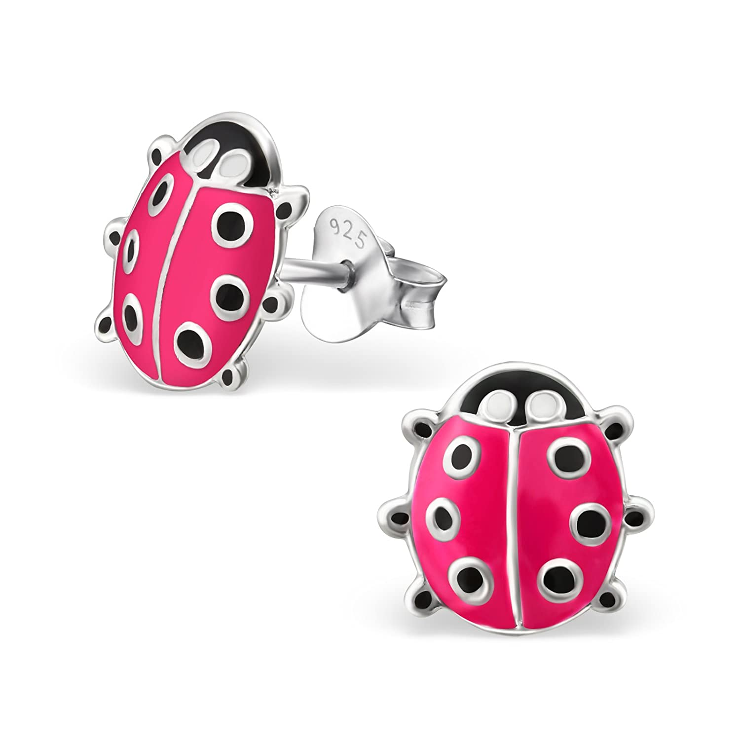Silvadore - 925 Sterling Silver Childrens Stud Earrings - Lady Bird Bug Insect Pink - Butterfly Clasp - Free Gift Boxed 170ESE33Pi