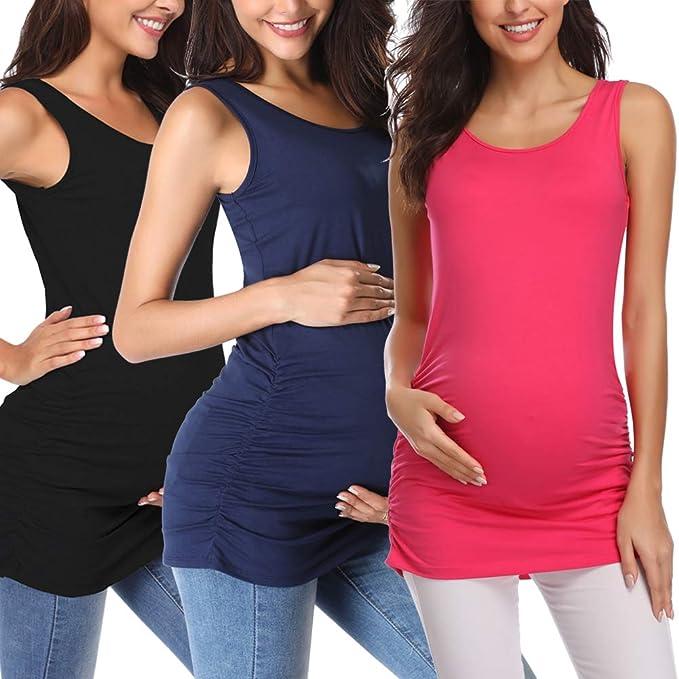 Ecavus Womens Basic Layering Maternity Tank Top Pregnancy Shirts Scoop Neck Sleeveless Solid Side Ruched Vest Dark Grey