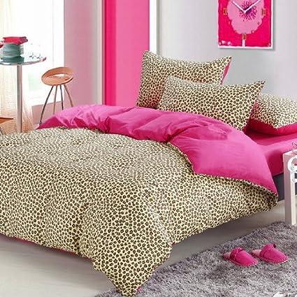 Pink Cheetah Print Bedding Leopard Print Duvet Cover Set (Full)