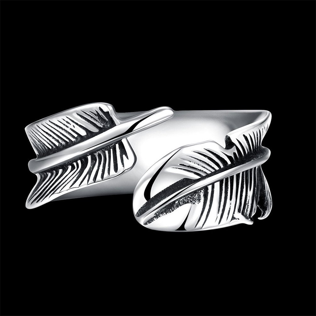 HMILYDYK 9mm 316L Stainless Steel Vintage Punk Rock Leaf Feather Adjustable Ring for Mens Womens by HMILYDYK (Image #2)