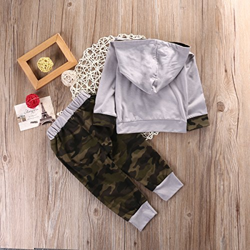 dfc980b2b Newborn Infant Baby Boy Girls Camouflage Clothes Hooded T-Shirt Tops+Pants  Outfits (