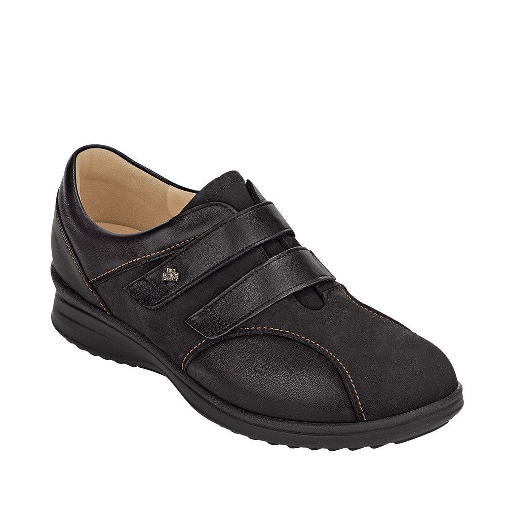 Finn Comfort Women's Luttich Walking Shoes,Black Nubuck/Stretch/Nappa,7.5 M UK