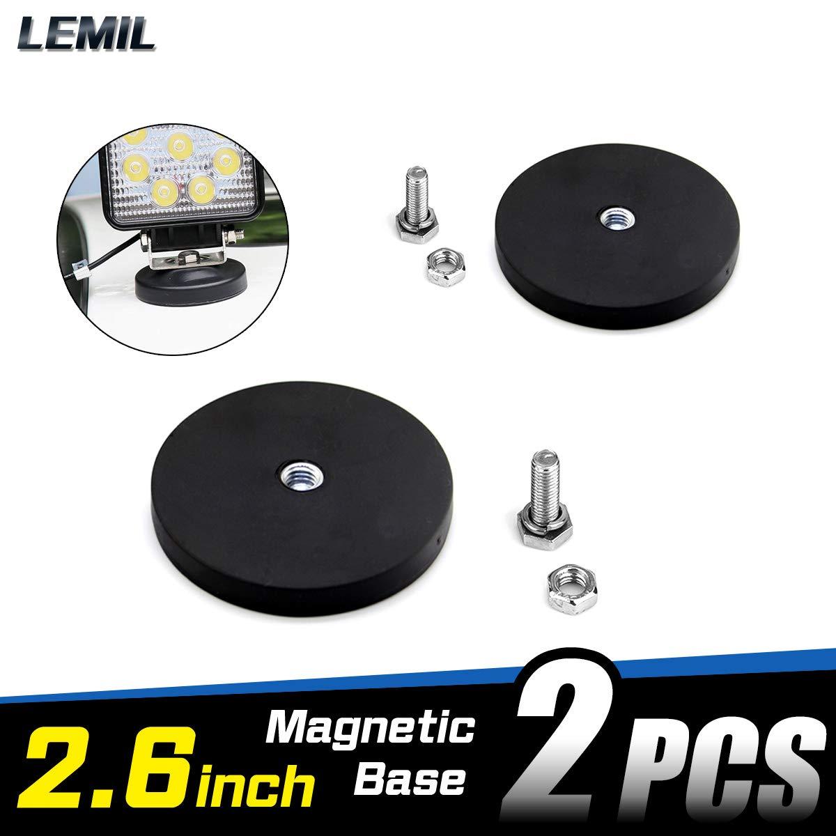 LEMIL 2pcs Magnetic Base Mount Bracket Sucker Holder with Rubber Pad for LED Work Light LED Light Bar Talin Factor