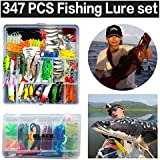 XBLACK Fishing Lure Kit 347pcs Fishing Lure Baits/Tackle Hard Soft Plastic Fishing Lure VIB Frog Lures Spoonbait with Sharp Treble Hooks in Saltwater Freshwater for Bass Trout Salmon with Tackle Box