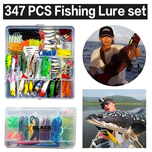 XBLACK Hard Fishing Lure Set 43pcs Assorted Bass Fishing Lure Kit Colorful Minnow Popper Crank Rattlin VIB Jointed Fishing Lure Set Hard Crankbait Tackle Pack for Saltwater or Freshwater (347pcs)