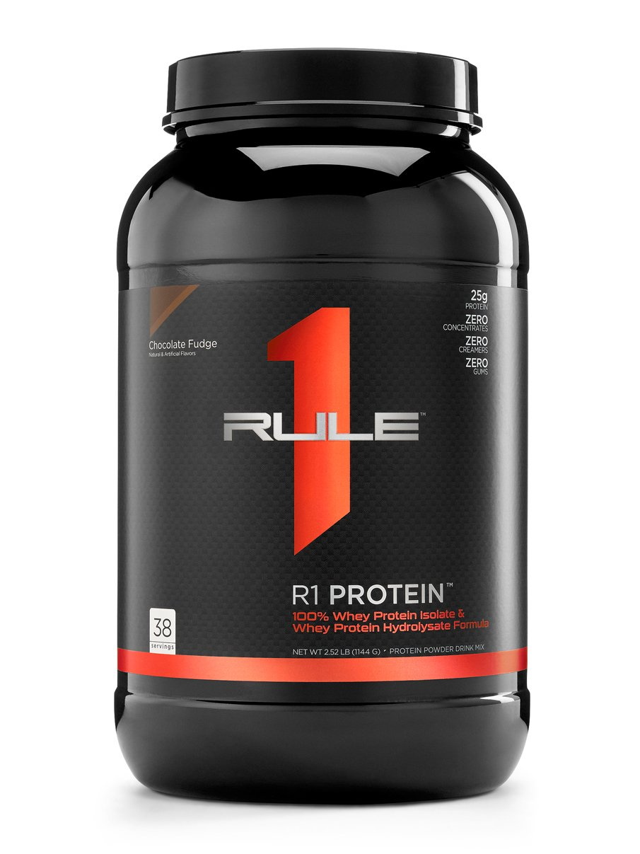 R1 Protein Whey Isolate/Hydrolysate, Rule 1 Proteins (38 Servings, Chocolate Fudge) by Rule One Proteins