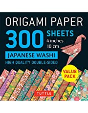"""Origami Paper 300 sheets Japanese Washi Patterns 4"""" (10 cm): Tuttle Origami Paper: High-Quality Double-Sided Origami Sheets Printed with 12 Different Designs"""
