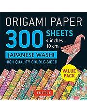 "Origami Paper Japanese Washi Patterns: 4"" (10cm) 300 sheets"