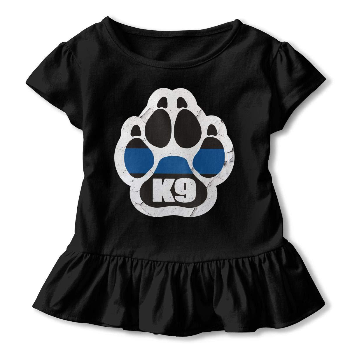 K 9 Unit Thin Blue Line Paw Toddler Girls T Shirt Kids Cotton Short Sleeve Ruffle Tee