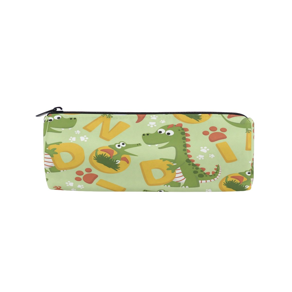 ALAZA Cute Dinosaurs with Letter Cartoon Barrel Pencil Bag Case Pouch Box Makeup Print,School Supplies for Kids Teens Student Office