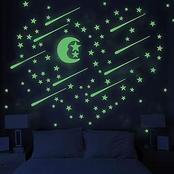 Mendom 210 Piezas Brillan En La Oscuridad Estrellas De Luna Y Tiro Estrellas Brillantes Para El Techo Y La Pared Perfecto Para El Dormitorio De Los Niños O Fiesta Regalo De