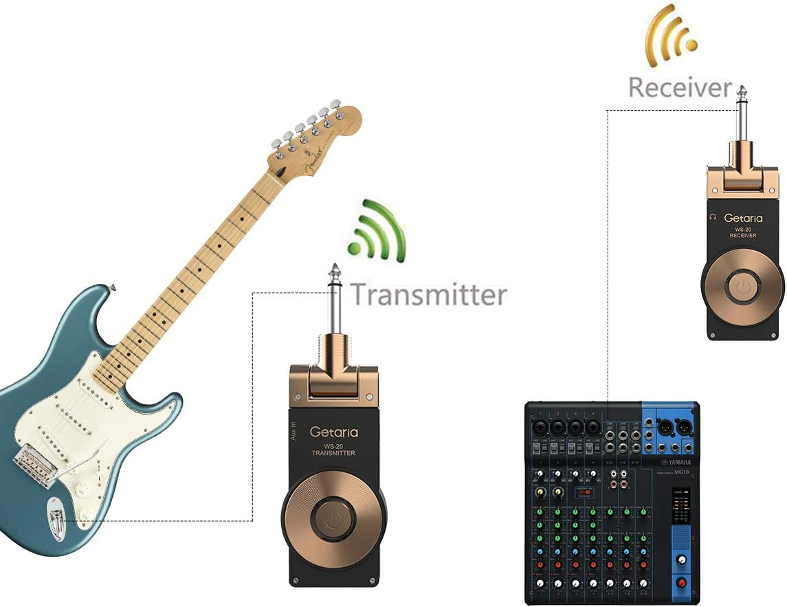 Male to Female Stereo cables Getaria Wireless Guitar System Rechargeable Digital Transmitter Receiver Set for Electric Guitar Bass with Getaria 3.5mm to 6.35 mm 1//4 inch