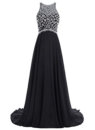 Bbonlinedress Long Chiffon Prom Dresses Beadings Sequined A-Line Sleeveless Evening Gowns Black 2