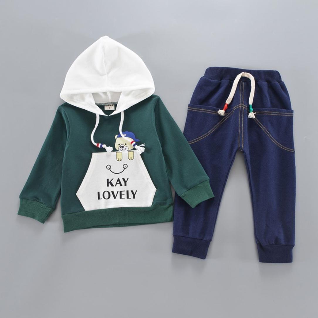Jimmackey Neonato Unisex Manica Lunga Lettera Felpa con Cappuccio Tasca Orso Stampa Top /& Jeans Pantaloni Set