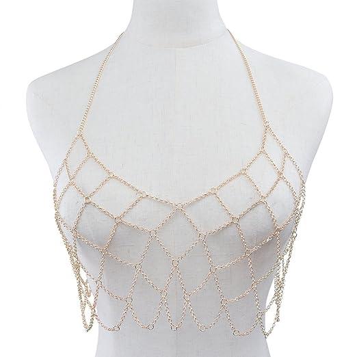 16c4d57e2647d Amazon.com  OULII Women s Geometric Halter Necklace Body Mesh Chain ...