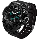 MJSCPHBJK Men's Analog Sports Watch, LED Military Wrist Watch Large Dual Dial Digital Outdoor Watches Electronic…