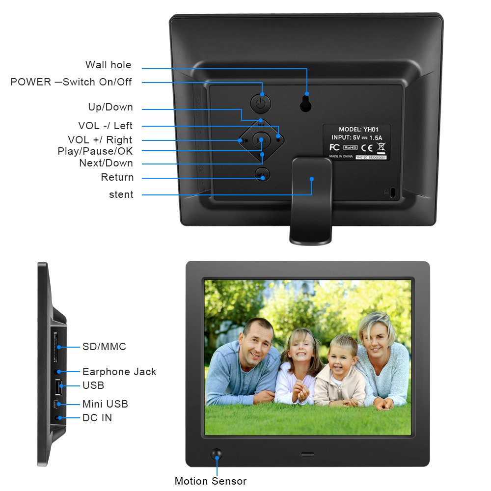 Digital Picture Frame 8 inch Electronic Digital Photo Frame with High Resolution 1024x768 IPS LCD and Motion Sensor//1080P 720P Video Player//Calendar//Time//Remote Control//Best for Gift or Present