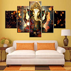 TUMOVO Ganesha Paintings House Decorations Living Room 5 Pieces/Panel Canvas Wall Art Lord Ganesha Pictures Posters and Prints,Modern Artwork Home Decor-with Wooden Frame Ready to Hang(60''Wx40''H)