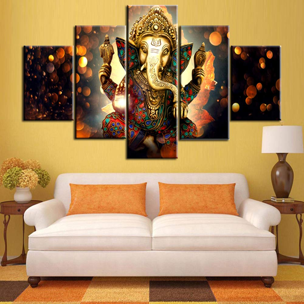 Astounding Tumovo Ganesha Paintings House Decorations Living Room 5 Pieces Panel Canvas Wall Art Lord Ganesha Pictures Posters And Prints Modern Artwork Home Best Image Libraries Thycampuscom