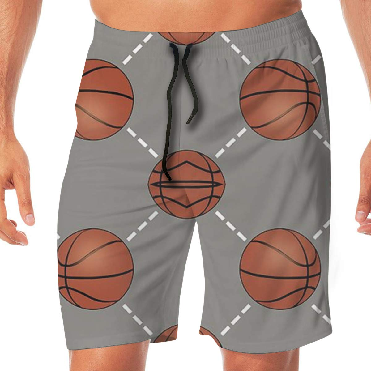 TR2YU7YT Basketball Court Casual Mens Swim Trunks Quick Dry Printed Beach Shorts Summer Boardshorts Bathing Suits with Drawstring